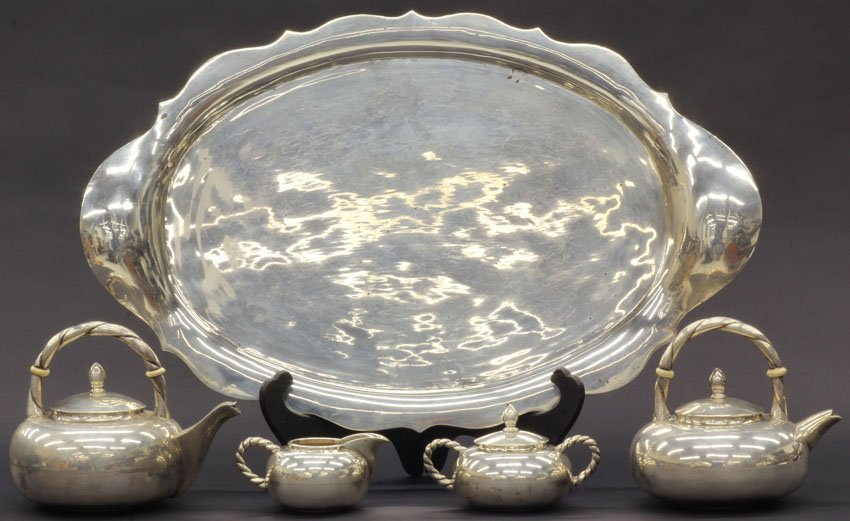 STERLING SILVER (5) PC. TEA SERVICE  weight- 138 troy o