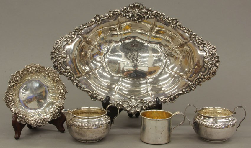 LOT OF STERLING SILVER  center bowl, cream and sugar, c