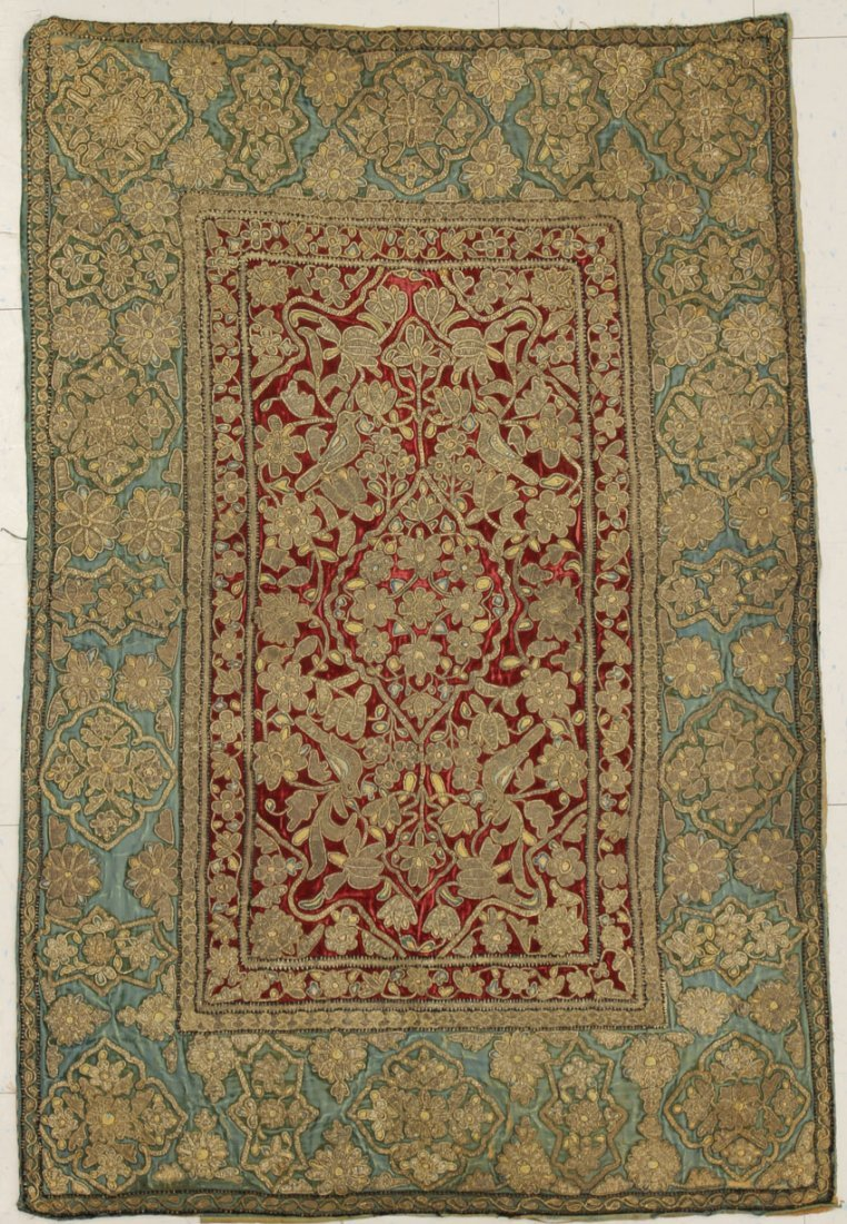 PERSIAN EMBROIDERED TAPESTRY circa 19th century overall