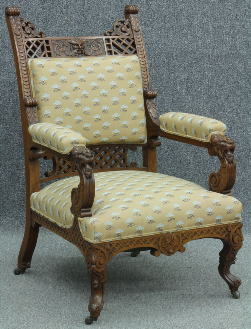 VICTORIAN WALNUT CARVED ARM CHAIR with lion and northwi
