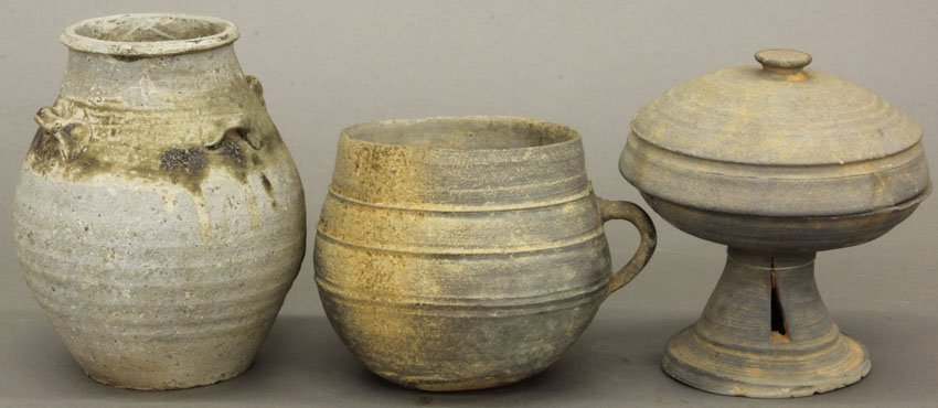 LOT (3) EARLY KOREAN/CHINESE POTTERY VESSELS height- 4