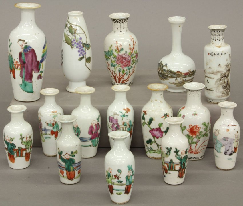 LOT OF (15) CHINESE PAINTED PORCELAIN VASES Qing