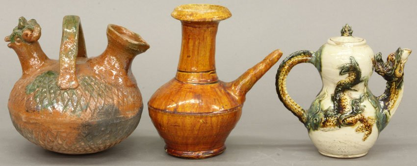 LOT OF (3) CHINESE VINTAGE POTTERY POURING VESSELS