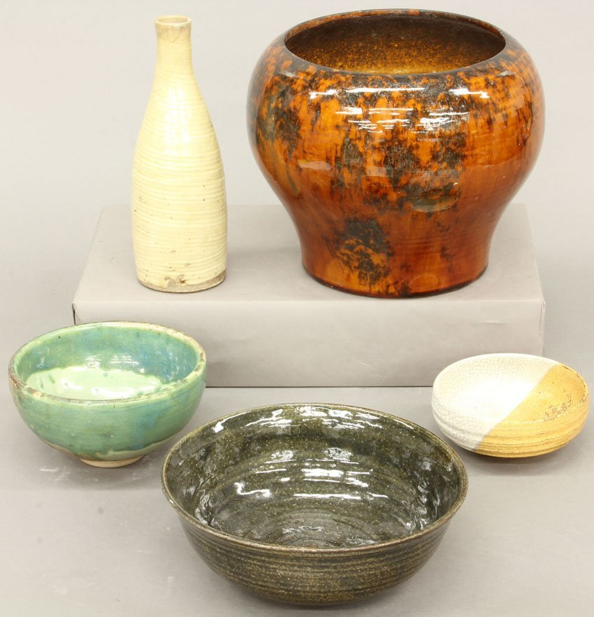 LOT OF (5) JAPANESE ITEMS- pot, bowls, vase height- 1
