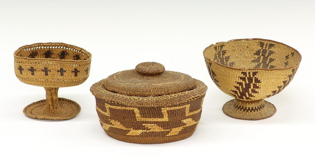 LOT OF (3) PIT RIVER WOVEN BASKETS