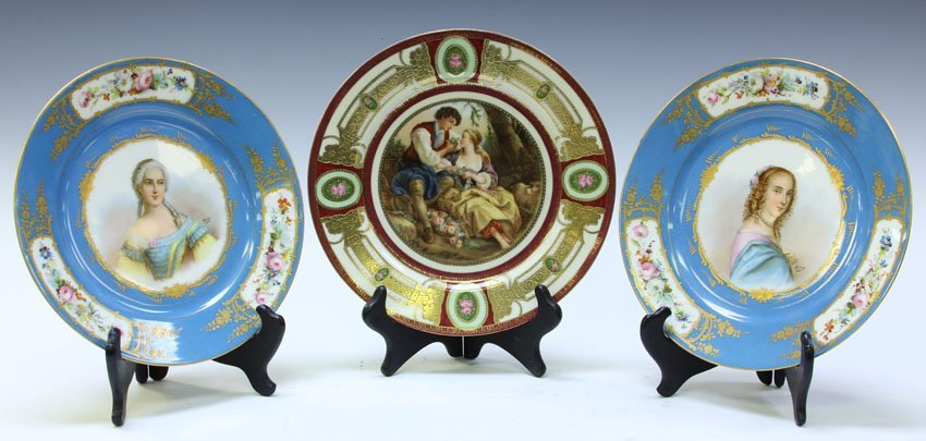 LOT OF (3) CONTINENTAL PAINTED PORCELAIN PLATES