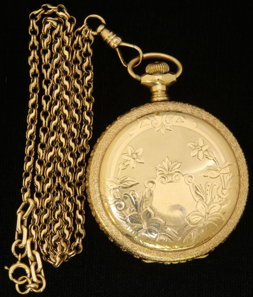ELGIN 14KT POCKET WATCH WITH CHAIN