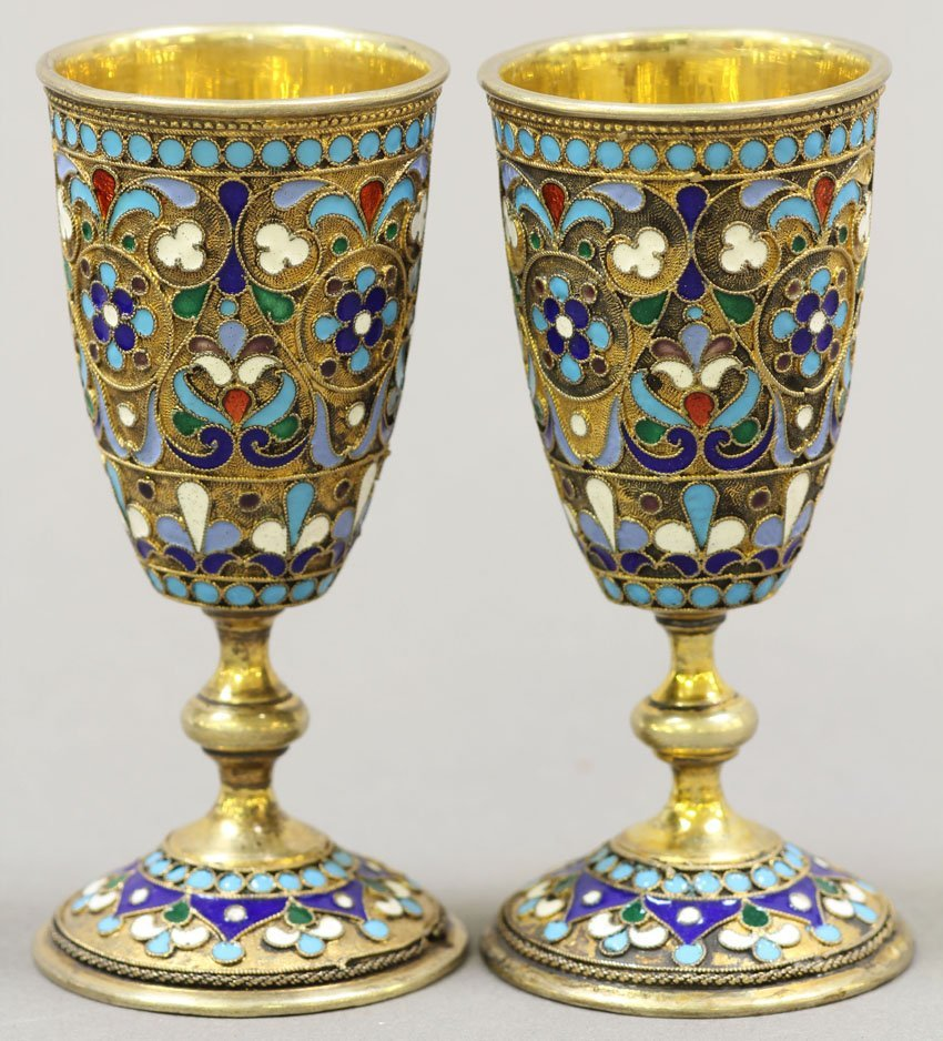PAIR OF RUSSIAN SILVER CHAMPLEVE ENAMELED CUPS