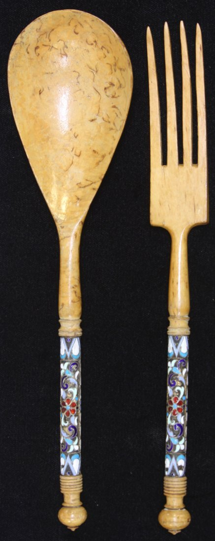 PAIR OF RUSSIAN SILVER CHAMPLEVE FORK AND SALAD