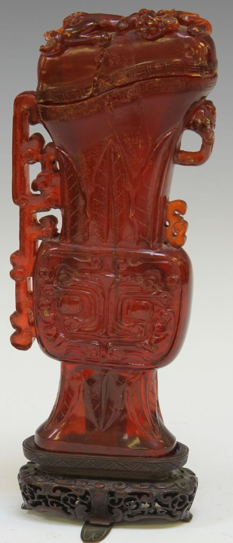 EARLY CHINESE CARVED AMBER VASE