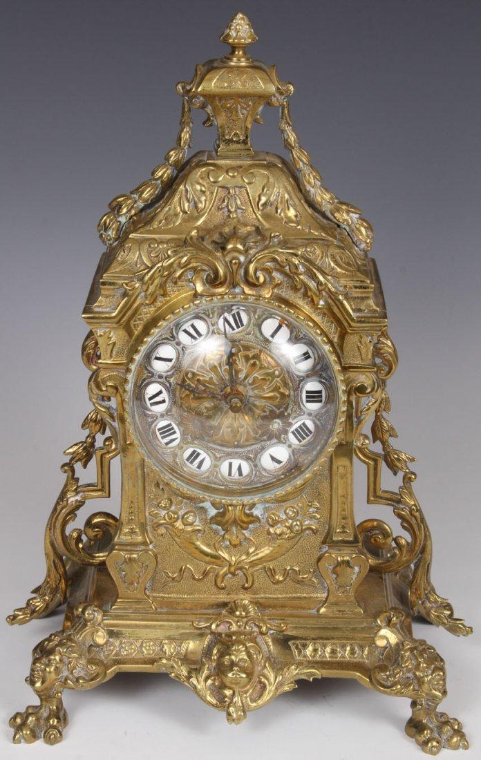 FRENCH CAST BRASS MANTEL CLOCK