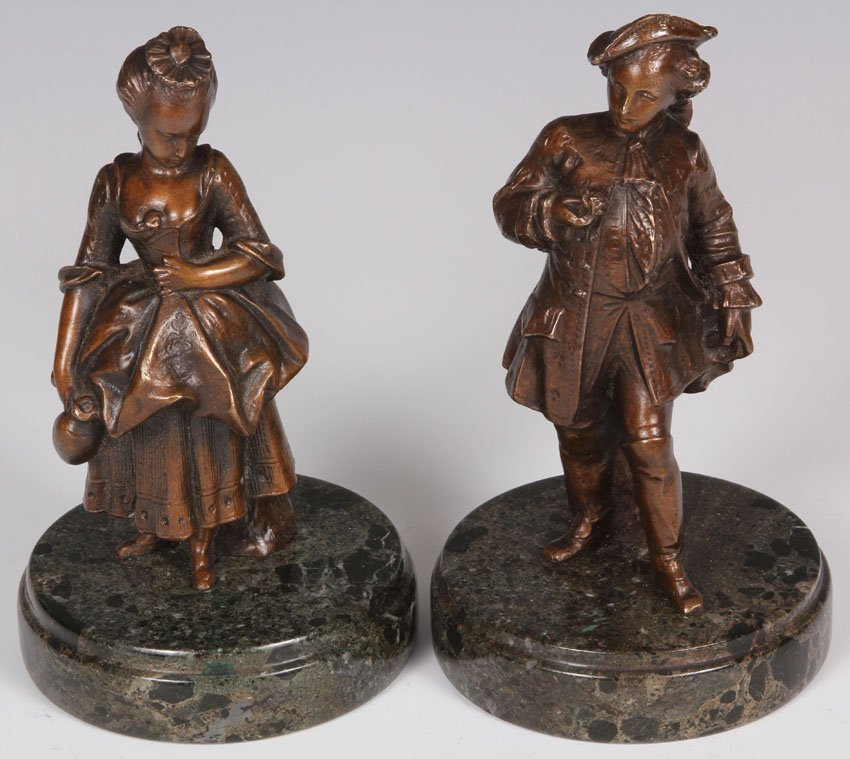 PAIR OF FRENCH CAST BRONZE FIGURES