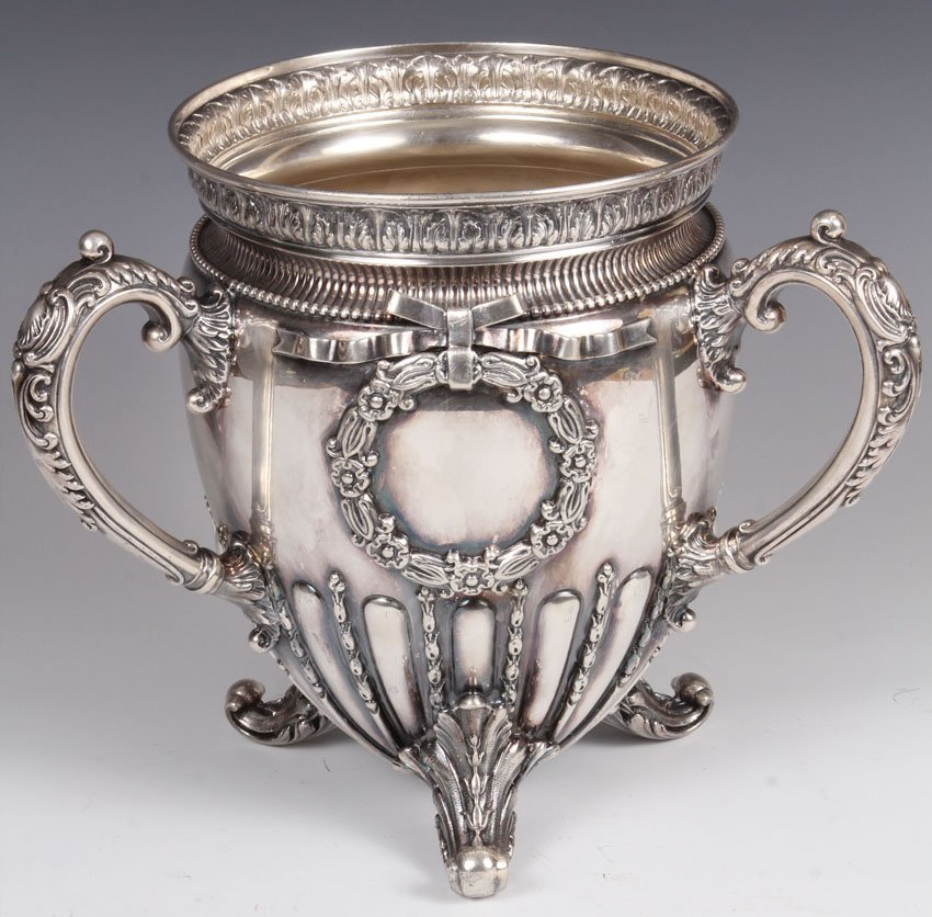 VICTORIAN SILVERPLATE FOOTED CHAMPAGNE BUCKET