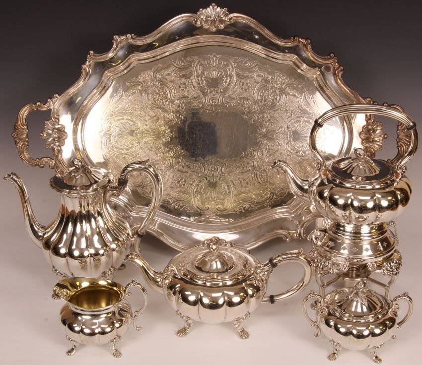 REED AND BARTON (5) PC.  SILVERPLATE TEA SERVICE