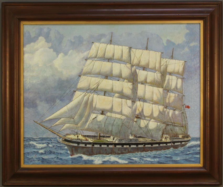 JUDSON, OIL ON CANVAS OF SHIP WITH FULL SAILS