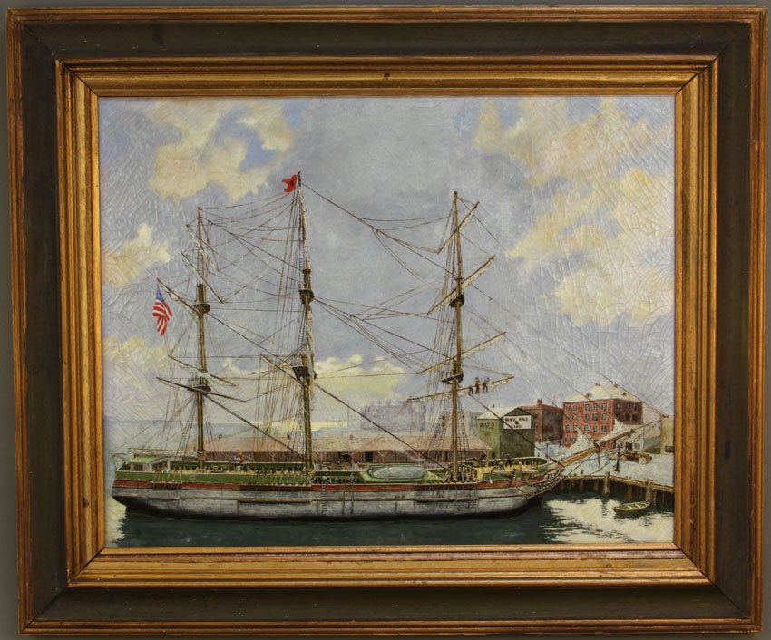 JUDSON, OIL ON CANVAS OF SHIP AT HARBOR