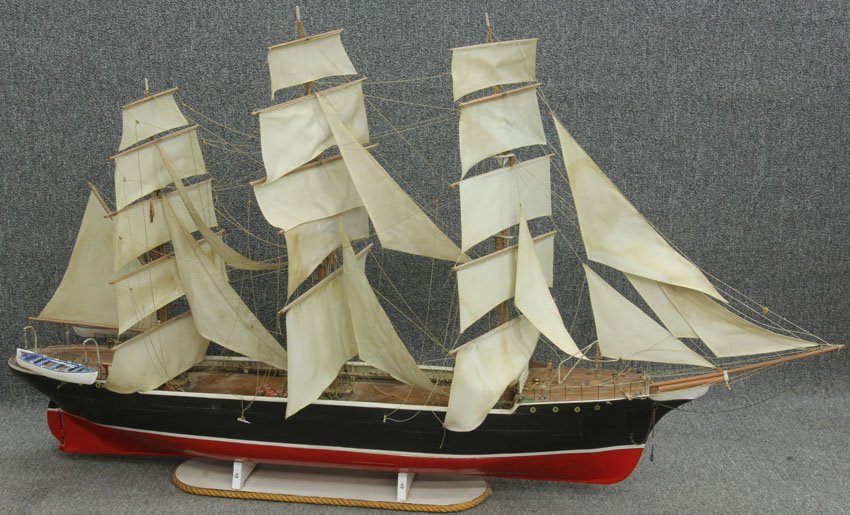 MONUMENTAL TALL SHIP MODEL WITH STAND