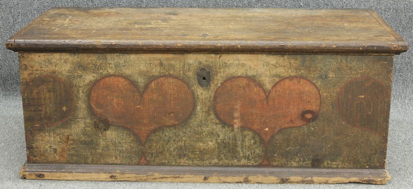 EARLY 19TH CENTURY PAINTED IMMIGRANTS TRUNK