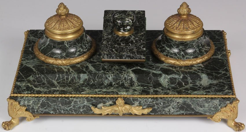FRENCH VICTORIAN MARBLE INKWELL AND BLOTTER