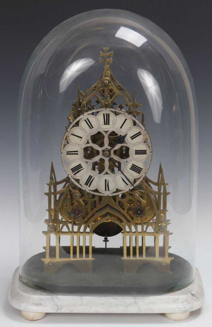 EARLY SKELETON FUSEE CLOCK WITH GLASS DOME