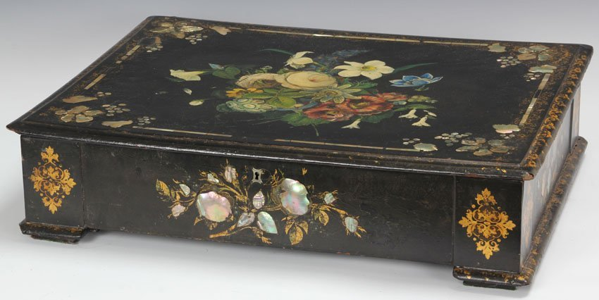 LARGE VICTORIAN MOTHER OR PEARL DOCUMENT BOX