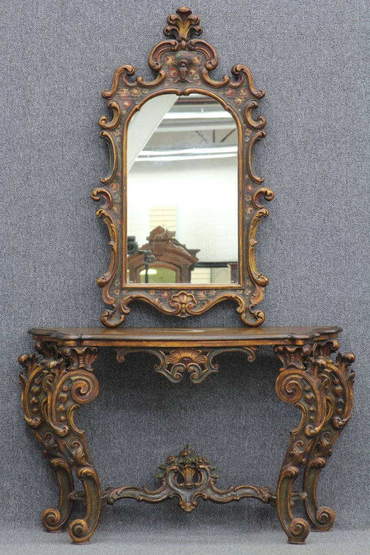 ITALIAN RENAISSANCE PAINTED MIRROR AND CONSOLE