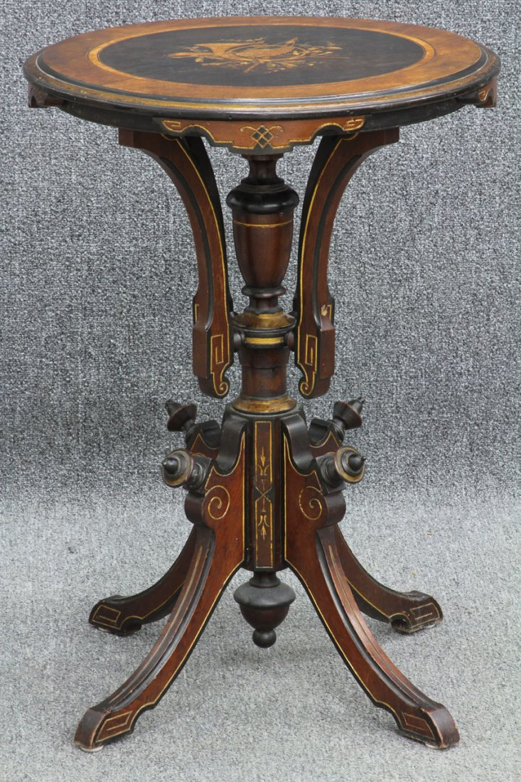 AMERICAN RENAISSANCE REVIVAL WALNUT INLAID TABLE