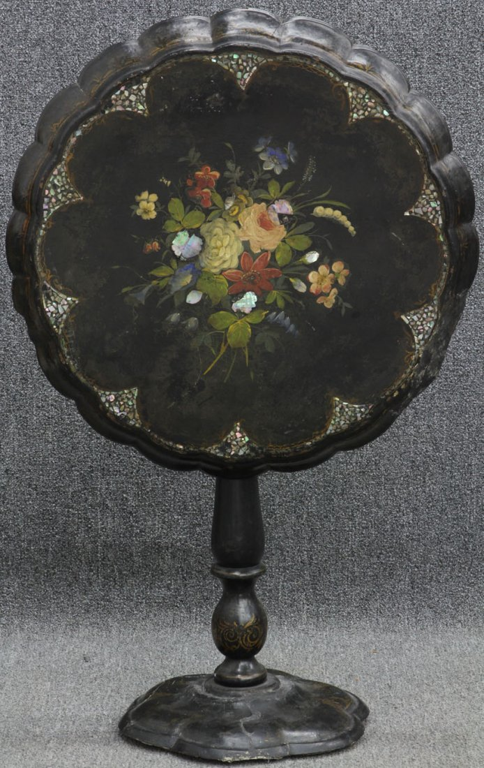 VICTORIAN MOTHER OF PEARL AND PAINTED TABLE