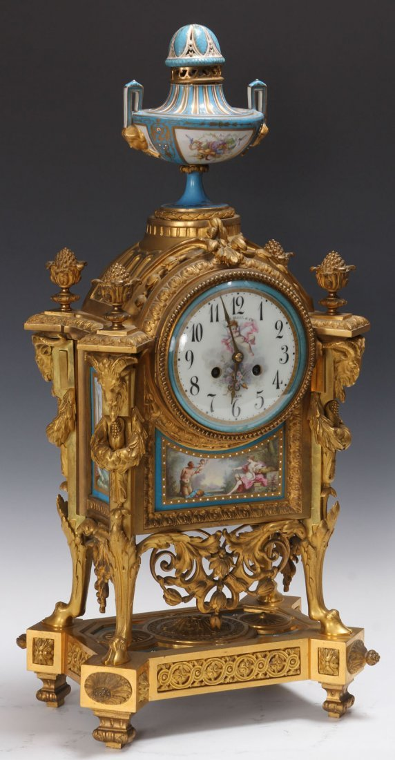 FRENCH BRONZE CLOCK WITH PLAQUES