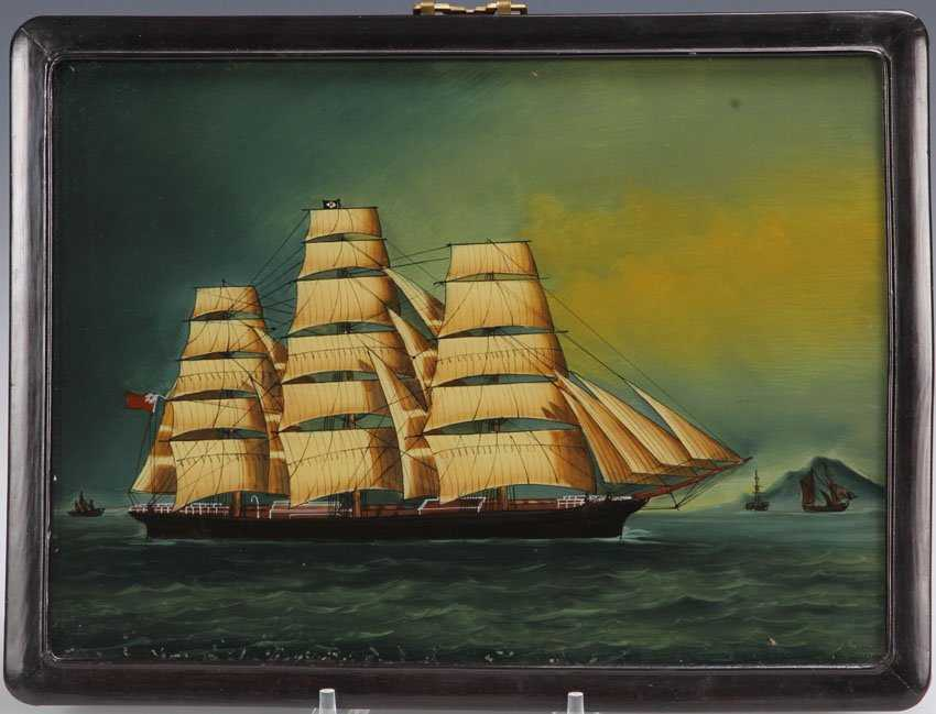 REVERSE PAINTING ON GLASS OF MERCHANT SHIP