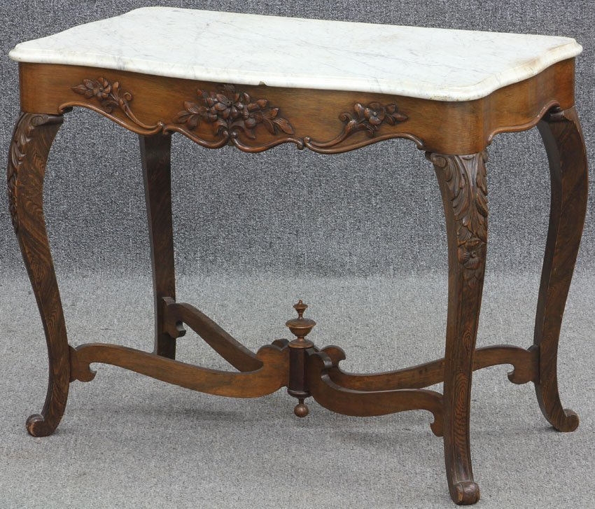 AMERICAN VICTORIAN WALNUT MARBLE TOP TABLE