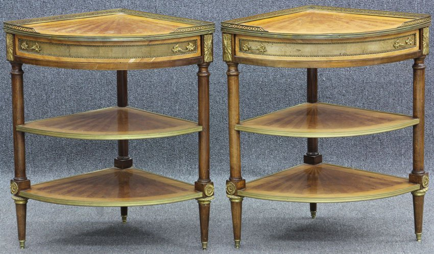 PAIR OF FRENCH LOUIS XVI STYLE CORNER TABLES