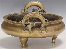 VINTAGE CHINESE BRASS FOOTED CENSER