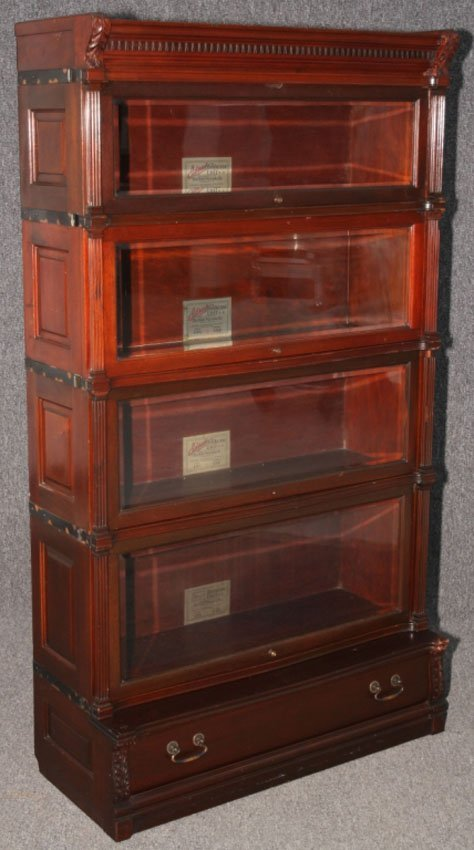 MAHOGANY IDEAL RAISED PANEL STACKING BOOKCASE