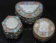CHINESE JADE AND JEWELED BOXES
