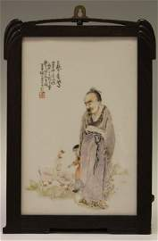 EARLY CHINESE PORCELAIN PLAQUE, ARTIST SIGNED