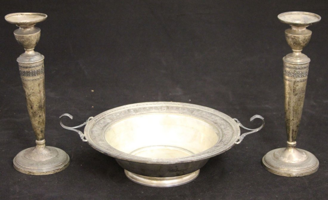 LOT OF (3) STERLING SILVER BOWL AND CANDLESTANDS