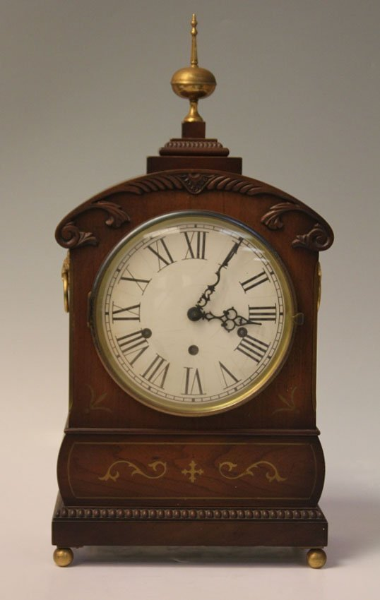 REGENCY INLAID MANTLE CLOCK WITH BRASS INLAY
