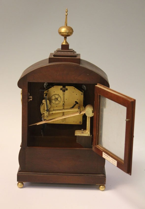 REGENCY INLAID MANTLE CLOCK WITH BRASS INLAY - 2