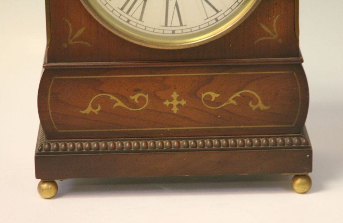 REGENCY INLAID MANTLE CLOCK WITH BRASS INLAY - 4