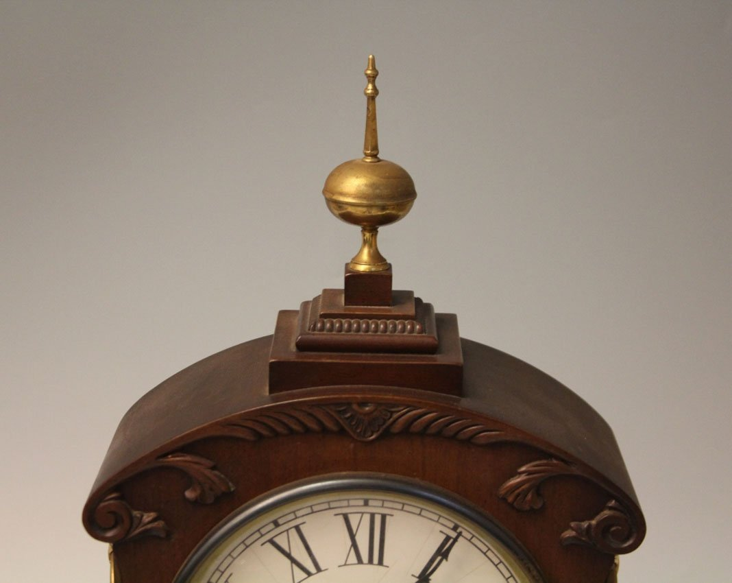 REGENCY INLAID MANTLE CLOCK WITH BRASS INLAY - 5