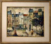 EUROPEAN OIL ON CANVAS STREET SCENE WITH FIGURES