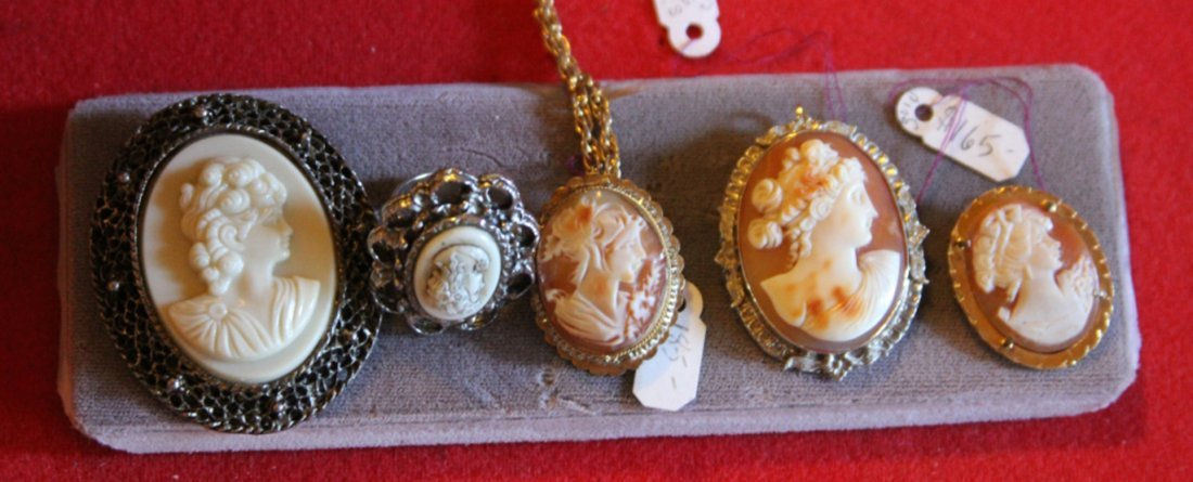 LOT OF (5) VINTAGE CAMEOS- SOME WITH SILVER