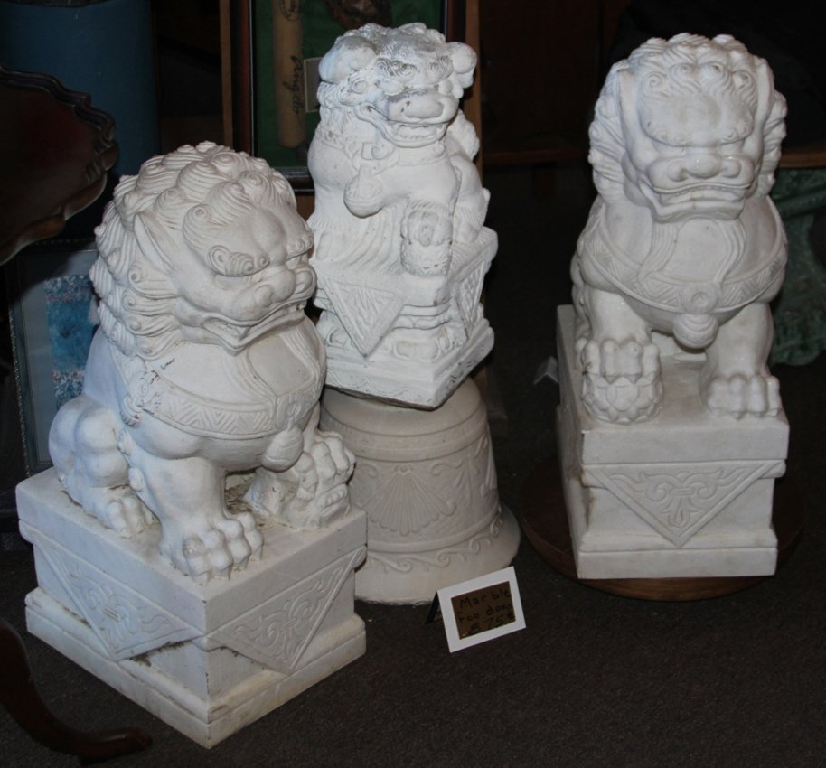 LOT OF (3) CHINESE STYLE FOO DOG STATUES