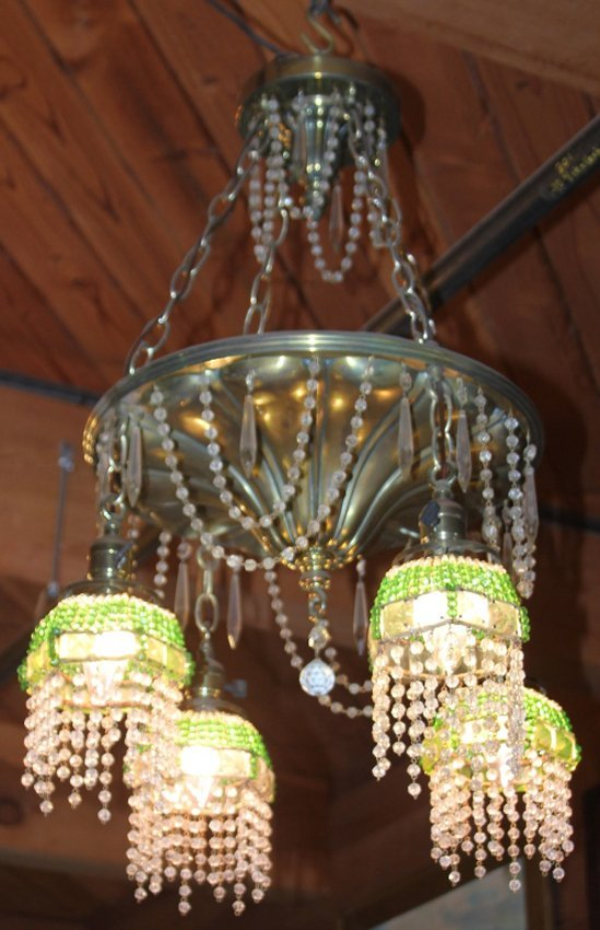 VINTAGE BRASS AND GLASS SHADE HANGING CHANDELIER