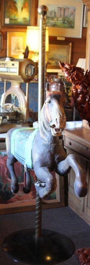 VINTAGE CARVED WOOD CAROUSEL HORSE