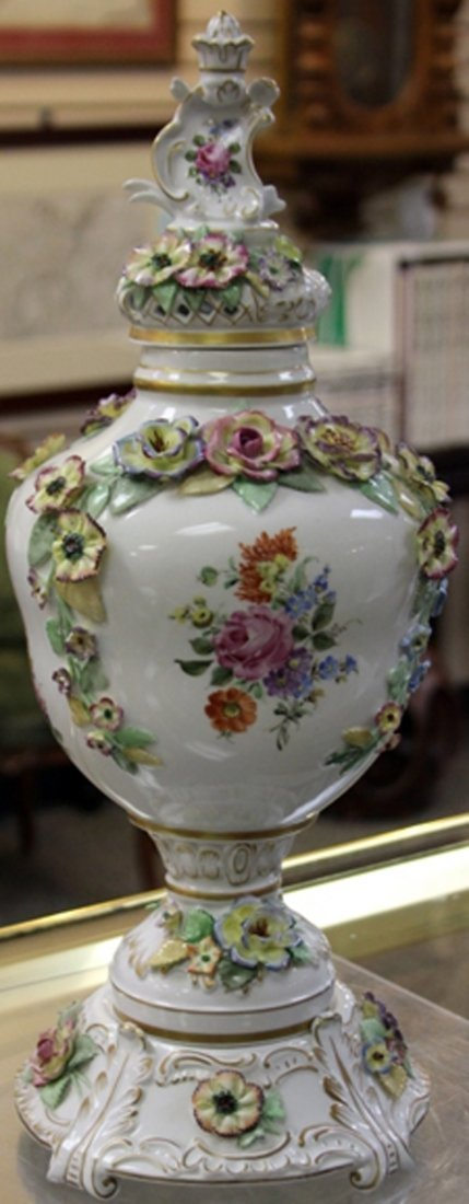 FRENCH PORCELAIN THREE PART URN