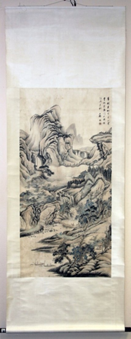 VINTAGE CHINESE PAINTING, MOUNTAIN LANDSCAPE