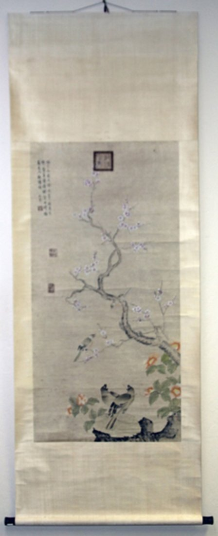 VINTAGE CHINESE PAINTING, BIRDS WITH TREE