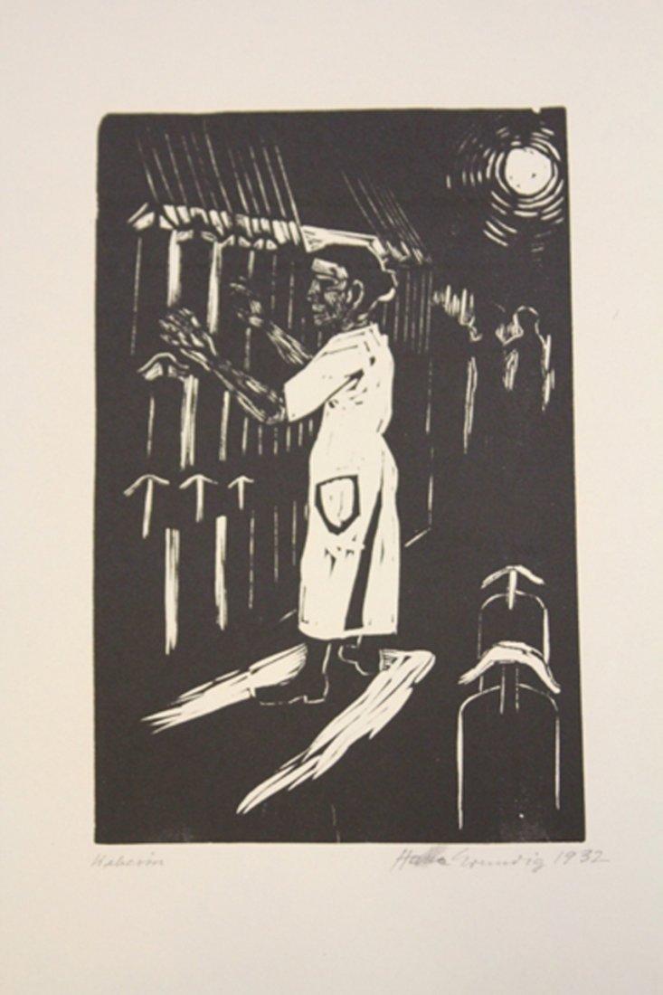 LOT OF (12) HANS GRUNDIG WORKS OF ART, WOODBLOCK PRINTS
